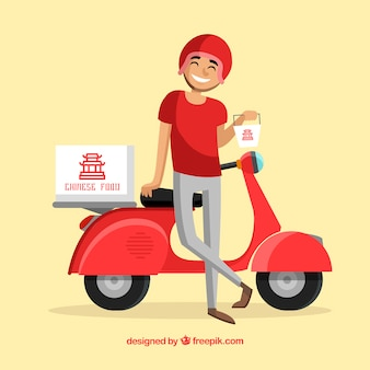 Smiley deliveryman with chinese food