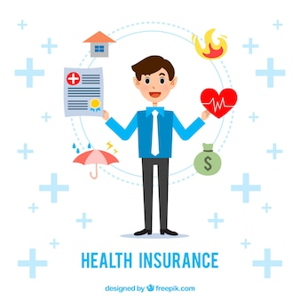Smiley man with insurance icons