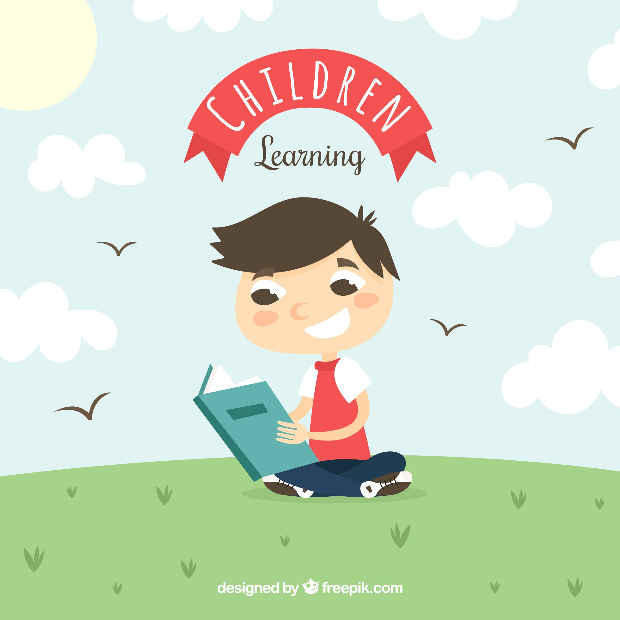 Smiling boy reading outdoors