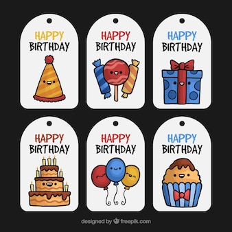 Smiling character birthday label collection