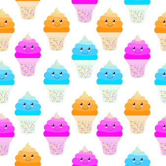 Smiling cupcakes pattern background