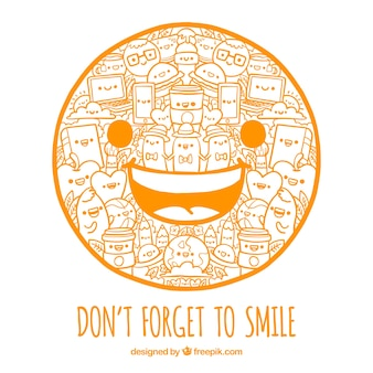 Smiling face background with drawings