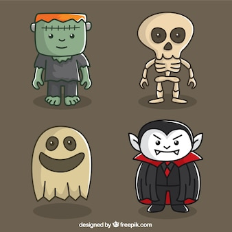 Smiling ghost with other halloween monsters