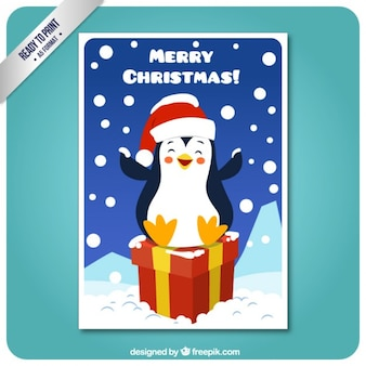 Smiling penguin on a gift card