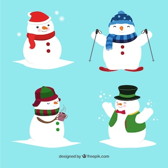 Smiling snowman character with winter accessories