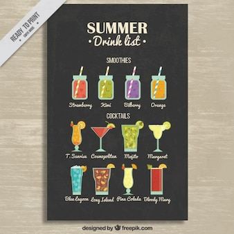 Smoothies and cocktails list