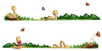 Snakes crawling in the field illustration