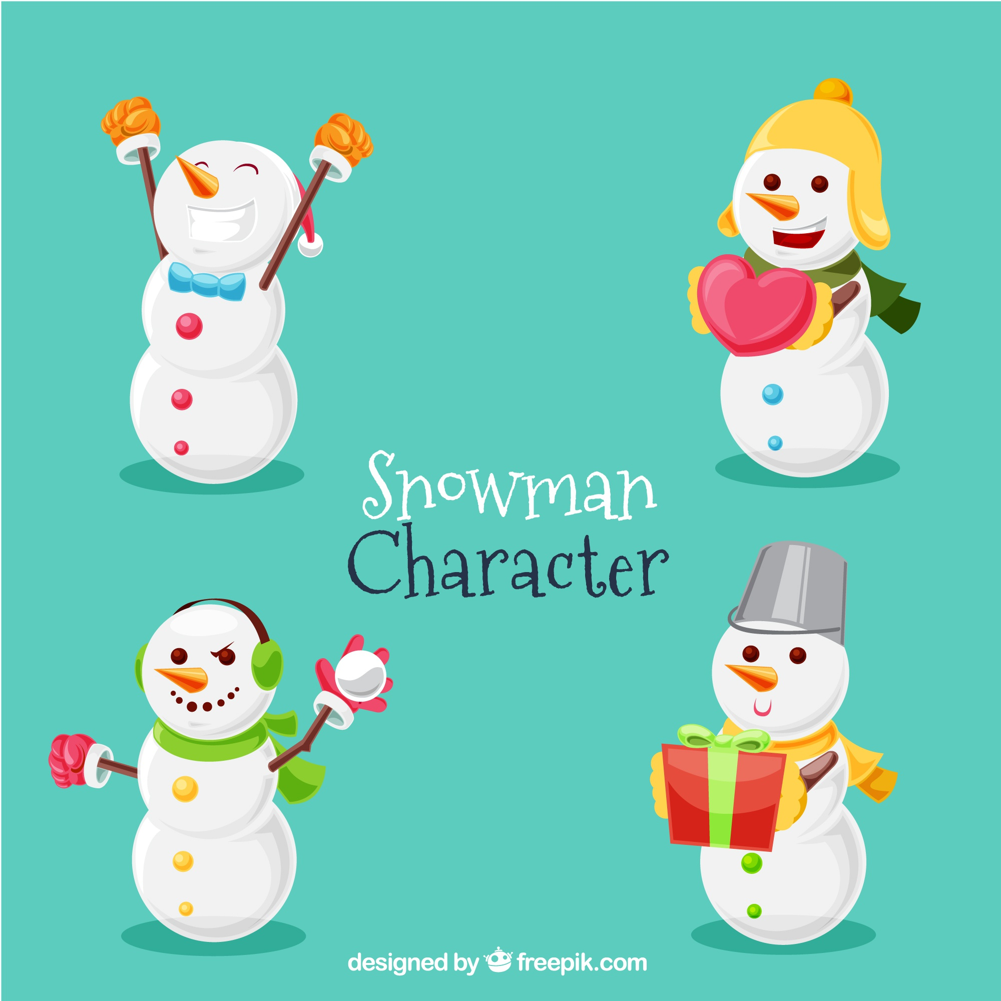 Snow characters with christmas accessories