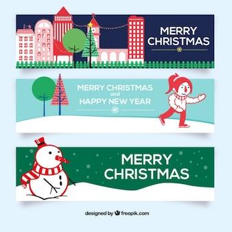 Snow christmas banners