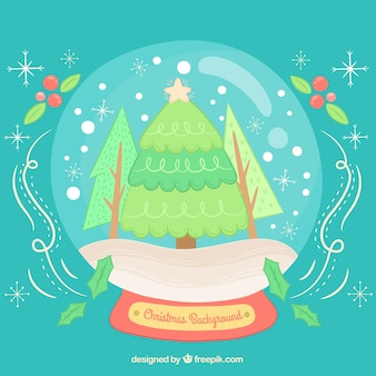 Snow globe background with christmas tree