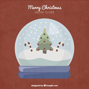 Snow Globe with Tree and Candy Canes