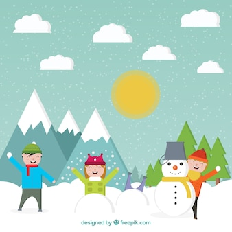 Snow landscape background with children playing in flat design