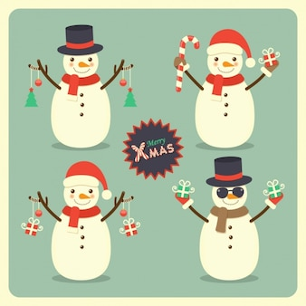Snow men with gifts in hands