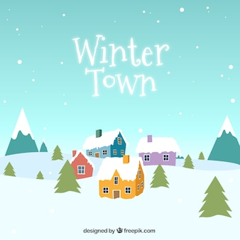 Snow winter town