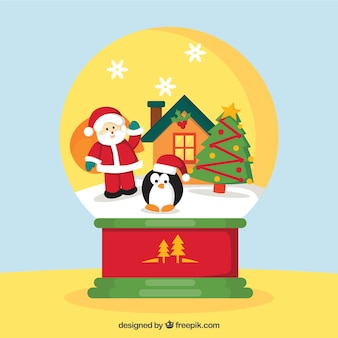 Snowball background with santa claus and penguin