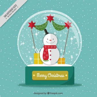 Snowball background with snowman in flat design