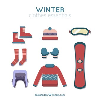 Snowboard assortment with essentials winter elements