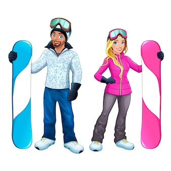 Snowboarder couple characters