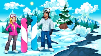 Snowboarders boy and girl on the mountain