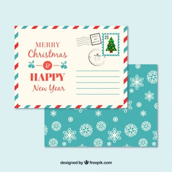 Snowflakes envelope and christmas postcard