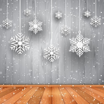 Snowflakes on gray wood