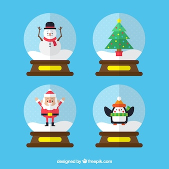Snowglobe with christmas tree in flat design