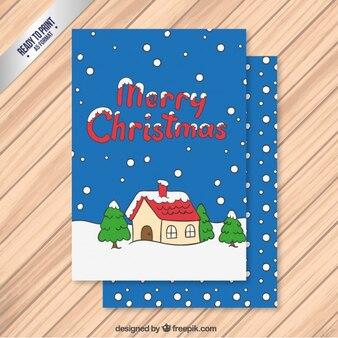snowing cartoon christmas greeting card