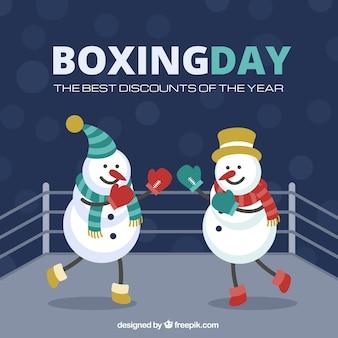 Snowmen boxing day illustation