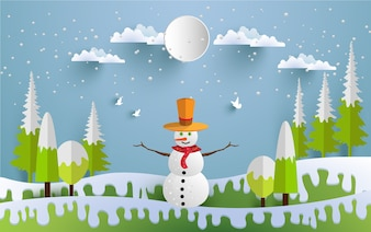 snowmen illustrations in winter for backgrounds, posters or wallpapers. paper art design