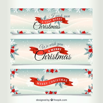 Snowy christmas banners
