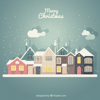Snowy christmas houses background