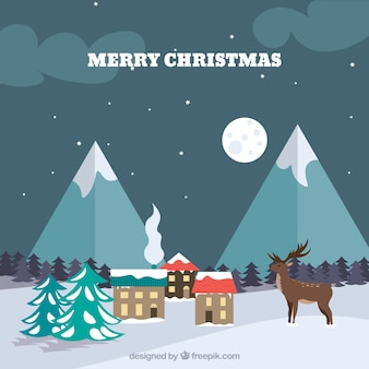 Snowy christmas lanscape background