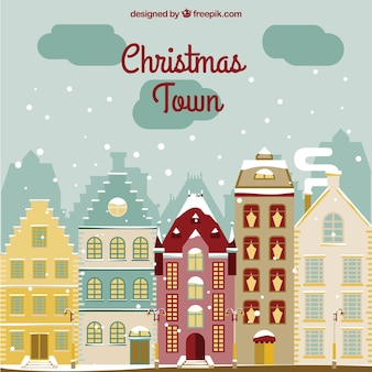 Snowy christmas town background