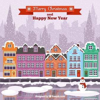 Snowy christmas town