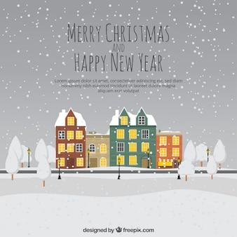 Snowy christmas village background