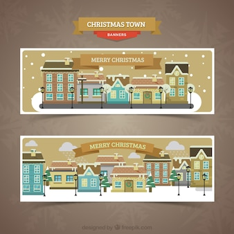 Snowy city banners in flat design