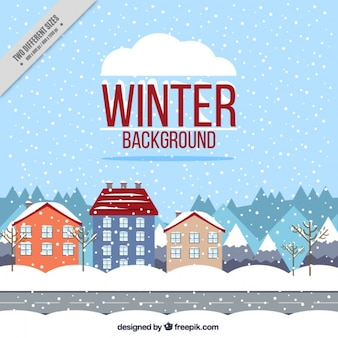 Snowy city scape background in flat design