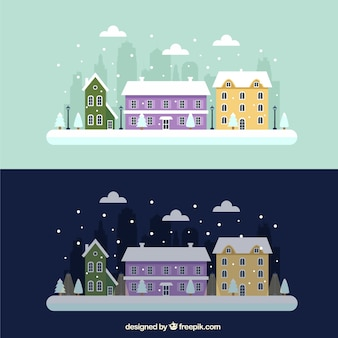 Snowy day and night city
