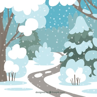 Snowy forest background with a path