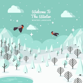 Snowy landscape background with birds in flat design