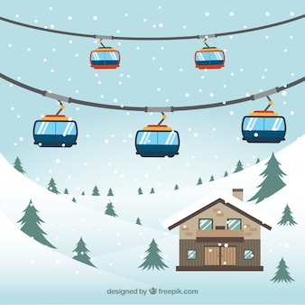 Snowy landscape background with cable car