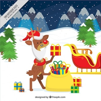 Snowy landscape background with reindeer dressed as santa claus