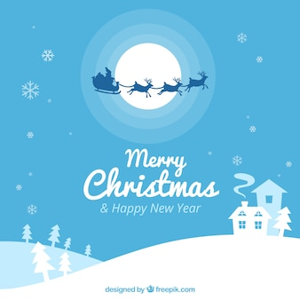 Snowy landscape background with santa claus