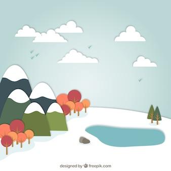 Snowy landscape in cartoon style