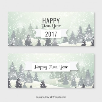 Snowy landscape new year banners