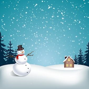 Snowy landscape with snowman