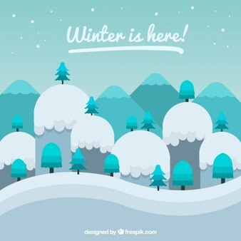 Snowy mountains background in geometric style
