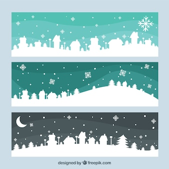 Snowy skylines banners