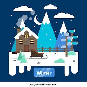 Snowy winter hut
