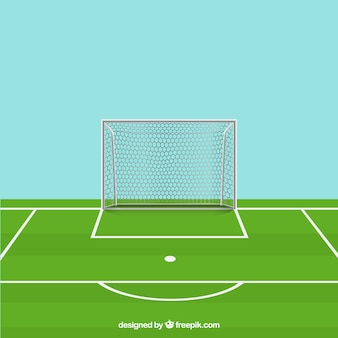 Soccer ball, field and goal